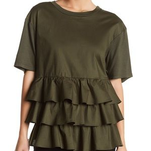 NWT Pleione Ruffle Front Short Sleeve Top